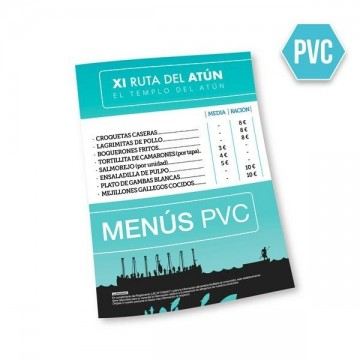 Cartas de menús PVC